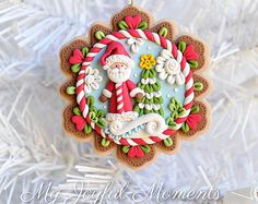 Handcrafted Polymer Clay Christmas Santa Scene Ornament