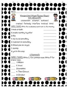 These are review sheets of Grammar and Vocabulary for Unit 2 of Grade 3 of McGraw-Hill Wonders. There are three review sheets for each of the five weeks. These are great for homework, morning work, centers, or even for intervention blocks. I am using them for Homework this year.