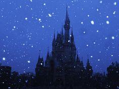 雪の夜のシンデレラ城はいつもとは全く違う表情。 Photo by J.S