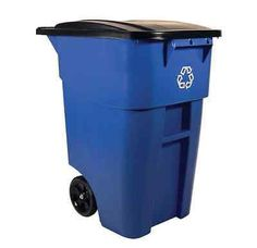 New #50-gallon blue trash can lid #recycling heavy-duty #wheels waste garbage bin,  View more on the LINK: http://www.zeppy.io/product/gb/2/291672081053/
