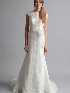 A-line Jewel Lace Chapel Train Ivory Sashes / Ribbons Wedding Dress at Millybridal.com