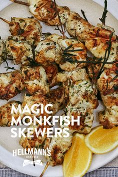 Kebabs are given a fresh new twist with this summer spectacular recipe from Hellmann's. All hail the Monkfish Kebab. Seafood Recipes, Cooking Recipes, Healthy Recipes, Bbq Fish Recipes, Uk Recipes, Savoury Recipes, Healthy Dinners, Chicken Recipes, Healthy Food