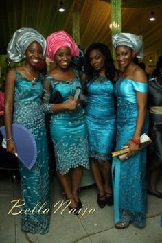 nigerian- traditional wedding part. People apart of bridal party and family wear different garments of the same fabric or color