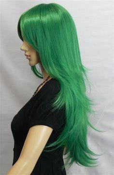 Long layered pine green wig.