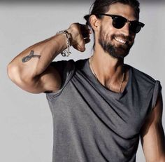 Hair beard tumblr shirt Style men sunglasses rayban