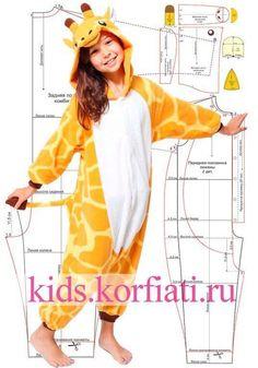 Pattern kigurumi pajamas for children 0 Kids Clothes Sale, Diy Clothes, Sewing Patterns For Kids, Clothing Patterns, Dress Up Outfits, Boy Outfits, Toddler Fashion, Kids Fashion, Fashion Games