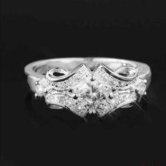 $3.62 1Pc Sterling Silver Plated Zircon Ring Elegant Wedding Ring Jewelry Decoration - BornPrettyStore.com