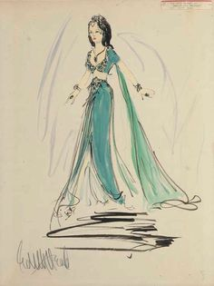 Edith Head sketch for Hedy Lamarr in Samson and Delilah (1949)