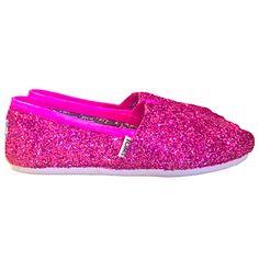 Womens Sparkly Glitter Toms Flats shoes bridal Bride Wedding Comfortable  Hot Pink Fucshia - GLITTER SHOE. Glitter Shoe Co 339543046e