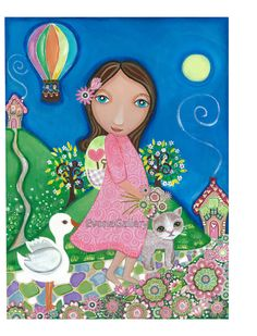 Folk Art  Painting Journey Print  9x12inches by Evonagallery, $20.00