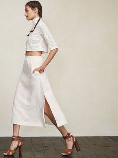 You can pretty much be on your worst behavior and still maintain your ladylike appeal in the Taza Skirt. https://www.thereformation.com/products/taza-skirt-ice-sheet?utm_source=pinterest&utm_medium=organic&utm_campaign=PinterestOwnedPins
