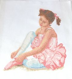 Little ballerina Ballerina Print Pink wall by CrossStitchElizabeth