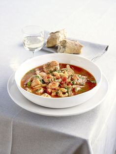 Mediterranean fish stew: A warming fish stew, made with fennel, prawns, white fish and tomatoes. Mop up any leftover juices with some crusty white bread.