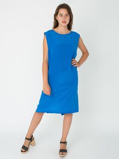 The Washed Silk Mid Length Shift Dress, now in Princess Blue.