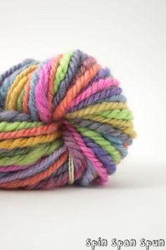 RainBow HandSpun HandDyed Leicester  Yarn worsted by SpinSpanSpun, $37.00