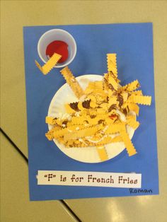 October 25 - National Greasy Food Day - French Fry Craft using IKEA kid plates Preschool Projects, Preschool Letters, Daycare Crafts, Preschool Lessons, Learning Letters, Toddler Crafts, Preschool Activities, Fall Preschool, Preschool Education