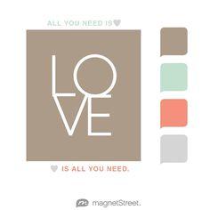 Ashwood, Celadon, Coral, and Silver Wedding Color Palette - free custom artwork created at MagnetStreet.com