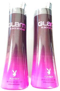 Lot of 2 Playboy Glam Black Bronzer Indoor & Outdoor Tanning Bed Lotion Bronzing #Playboy