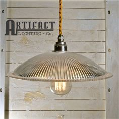 French Prismatic Pendant Vintage Industrial Factory Style Glass Shade Modern