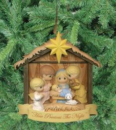 Precious Moments Christmas ornament in trademark soft pastels and gentle details; Nativity scene How Precious The Night