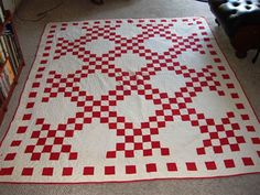 Double Irish chain red and white quilt