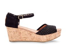 Give your look a lift with these cork wedges. Featuring a crocheted upper and a generous sole, they're the perfect match to your warm-weather style.