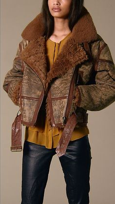 $2,295 Burberry Oversized soft shearling aviator jacket with leather seams