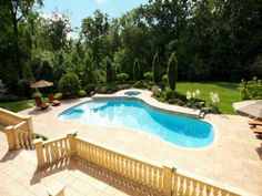 Beautiful Pool at a French Chateau in Alpine, New Jersey