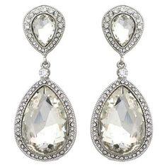 Wedding jewelry under $ 20. | Clear Crystal Large Teardrop Post Fashion Earrings