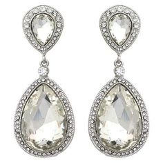 Wedding jewelry under $ 20. | Clear Crystal Large Teardrop Post Fashion Earrings