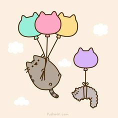 Happy Pusheen with balloons