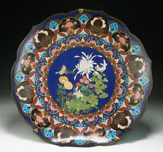 A Big Japanese Antique Silver Cloisonne Plate: of late 19th Century✖️More Pins Like This At FOSTERGINGER @ Pinterest✖️
