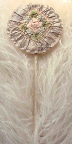 Circa 1920s Never Used Powder Puff Wand Adorned With Rauched Lavender Silk and A Large Pink Ribbon Rosette