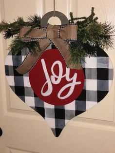 Excited to share this item from my shop: Buffalo plaid Christmas Ornament Door Hanger Buffalo Plaid Christmas Ornaments, Merry Christmas Family, Wooden Christmas Ornaments, Christmas Signs, Rustic Christmas, Christmas Art, Christmas Projects, Holiday Crafts, Christmas Wreaths