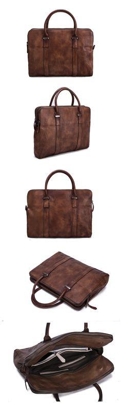 Men Leather Briefcase/Messenger Bag/Laptop Bag