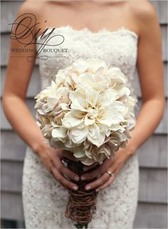 diy mum and hydrangea boquet- LOVE THE WEDDING DRESS TOO