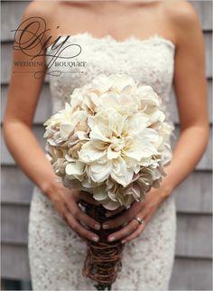 diy mum and hydrangea boquet- LOVE THE WEDDING DRESS TOO