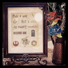 Pick a seat, not a side... Geek chic wedding. Harry Potter, Zelda, Doctor Who, Alice in Wonderland and Star Wars.