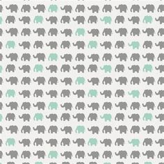 Gray and Mint Elephant Parade Fabric by Carousel Designs.