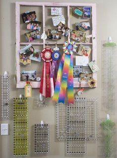 Make use of an awkward wall between a door and a closet with Command™ Hooks -- perfect for hanging your rulers and templates. A salvaged window is a stylish catchall for quilting awards, retreat pictures, and other momentos. Sewing Room Storage, Sewing Rooms, Quilt Storage, Creative Storage, Storage Ideas, Quilting Room, Sewing Table, Sewing Studio, Space Crafts