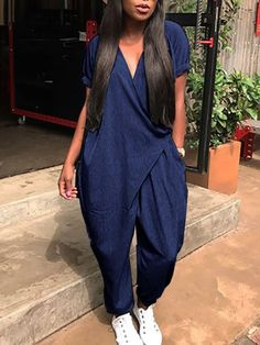 Stylish Pocket Wrapped Harem Jumpsuit fashion dresses pictures summer outfits style dress for girl,work dresses outfit ideas,party dresses Casual Dresses, Fashion Dresses, Dress Outfits, Party Dresses For Women, Dresses For Work, Look Fashion, Womens Fashion, Fashion Trends, Jumpsuit Pattern