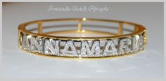 bracelet personnalisé avec le nom en acier inoxydable et de zircone cubique