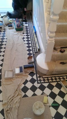 Victorian floor tiles gallery, Original Style floors, period floors - Living at Home - House, Interior, Home, Victorian Hallway, Staircase Design, House Inspiration, Hallway Flooring, Hall Tiles, Hallway Designs