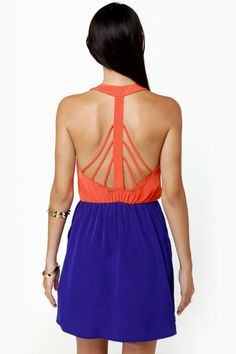 Back Beauty Orange and Blue Dress | Blue dresses, Blue fashion and ...