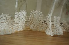 off white embroidery fabric lace trim daisy trim lace  by lacetime, $4.99