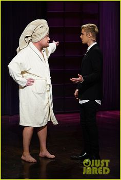 Justin Bieber tries to sub in for James Corden on The Late Late Show. But James ran out of his bath/dressing room cuz he was NOT going to allow that! Ha!