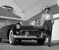 Frank Sinatra with his T-Bird, c.1955