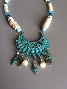 White Turquoise Boho Necklace - Bohemian Necklace - Gypsy Necklace - White  Bib Necklace - Festival Jewelry - Turquoise Pendant Necklace