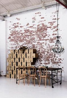 Exposed bricks are big at the moment raw, rustic and industrial interiors wouldn't be the same without exposed brick with some peeled paint. Industrial Bedroom, Industrial Living, Industrial Interiors, Industrial Wallpaper, Industrial Closet, Industrial Style, Industrial Windows, Kitchen Industrial, Industrial Design