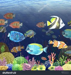 Watercolor illustration of a tropical fish on the ocean floor. The bottom consists of colored corals and algae. Handmade. Undersea world.